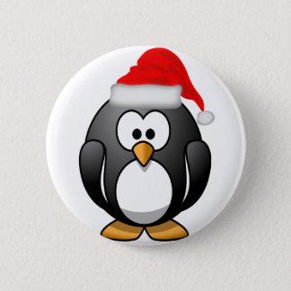 Penguin Santa Pinback Button