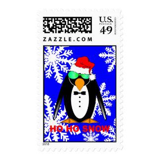 penguin Santa Postage Stamp