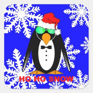 penguin Santa Square Sticker