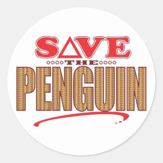 Penguin Save Classic Round Sticker