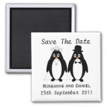 Penguin Save The Date Wedding Announcement 2 Inch Square Magnet