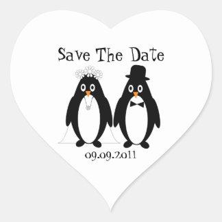 Penguin Save The Date Wedding Announcement Heart Sticker