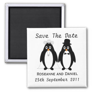 Penguin Save The Date Wedding Announcement Magnet