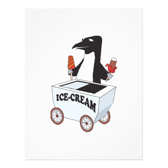 penguin selling ice cream flyer