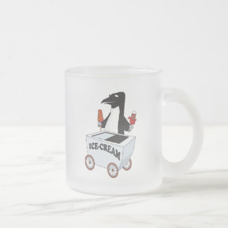penguin selling ice cream frosted glass coffee mug