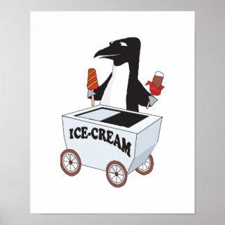 penguin selling ice cream poster
