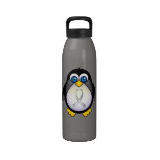Penguin Silver Ribbon Brain Disorder Awareness Water Bottle