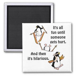 Penguin Ski Adventure 2 Inch Square Magnet