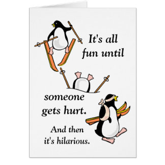 Penguin Ski Adventure Card