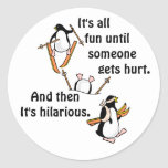 Penguin Ski Adventure Classic Round Sticker