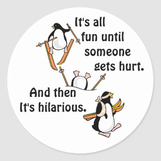 Penguin Ski Adventure Classic Round Sticker