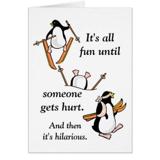 Penguin Ski Adventure Greeting Card