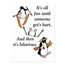 Penguin Ski Adventure Postcard