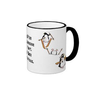 Penguin Ski Adventure Ringer Mug