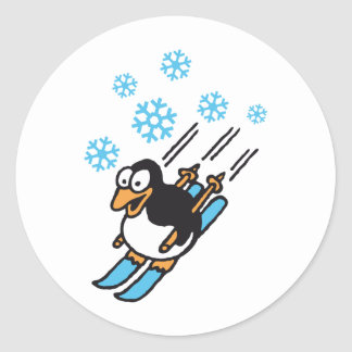 penguin ski classic round sticker