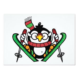 "Penguin Ski Jumping Invitations 5"" X 7"" Invitation Card"