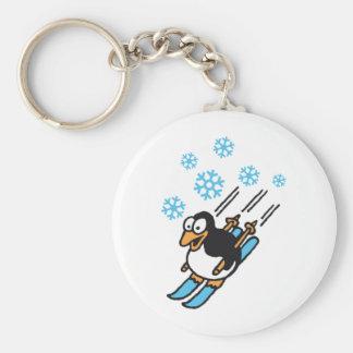 penguin ski basic round button keychain