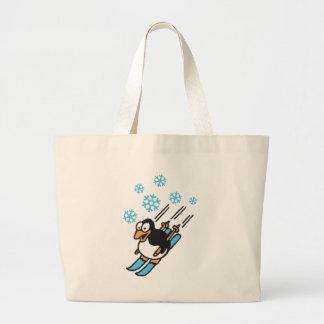 penguin ski large tote bag