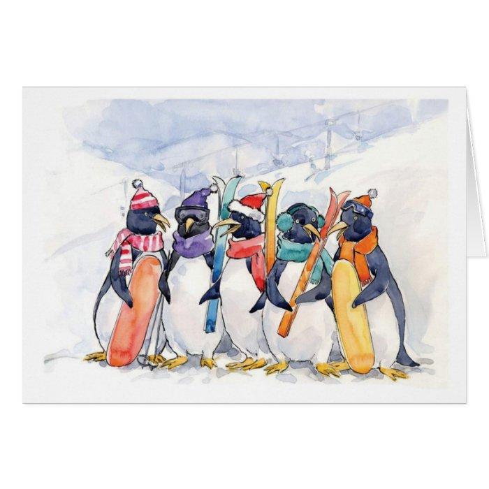 Penguin Ski Trip Card