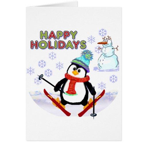 Penguin skier cards zazzle for Penguin christmas cards homemade