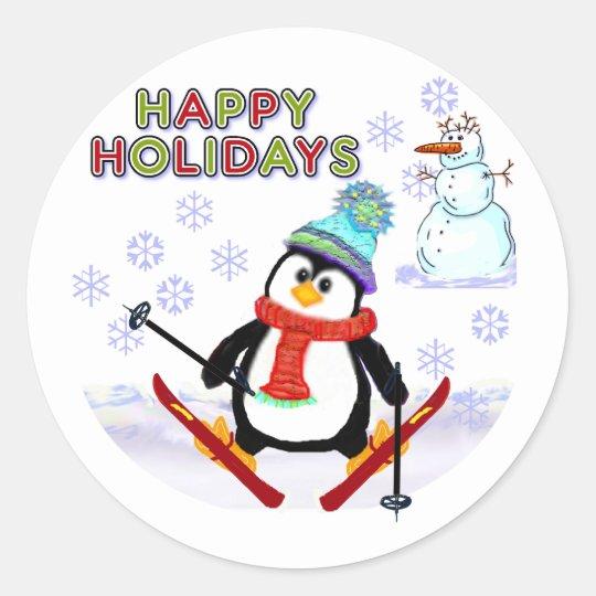 Penguin Skier Cards Classic Round Sticker