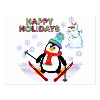 Penguin Skier Cards Postcard