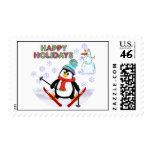 Penguin Skier Postage Stamps