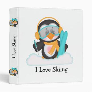 Penguin Skiing Vinyl Binder