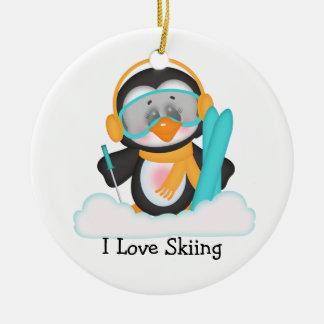 Penguin Skiing Ceramic Ornament