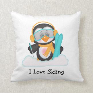 Penguin Skiing Pillows