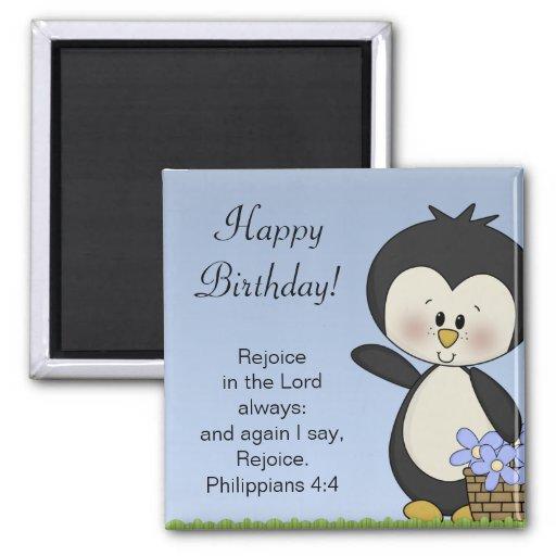 Penguin Smiles Happy Birthday Magnet