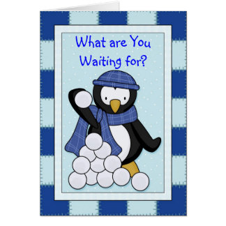 Penguin Snowballs Card