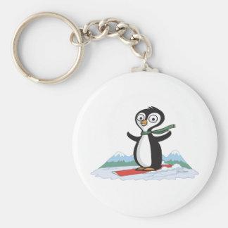 Penguin Snowboarder Keychain