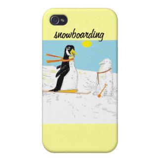 Penguin Snowboarding iPhone cases