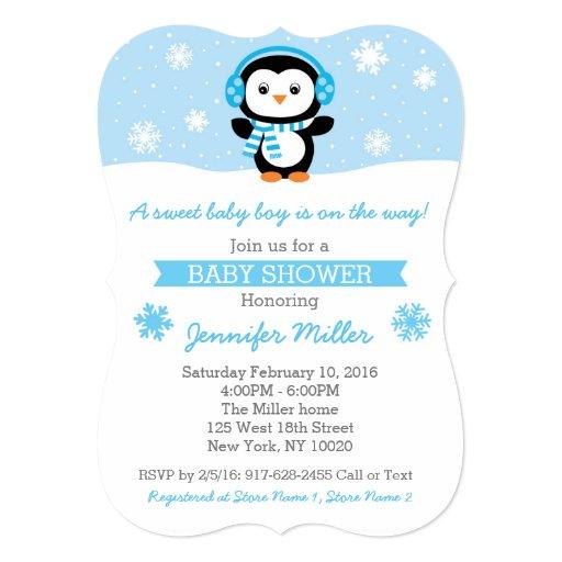 Penguin Snowflake Die Cut Baby Shower Invitations