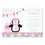 Penguin Snowflakes Pink Winter Onederland Birthday 4.5x6.25 Paper Invitation Card