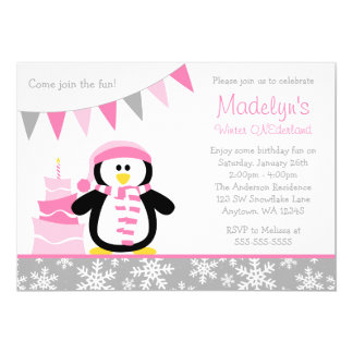 Penguin Snowflakes Pink Winter Onederland Birthday Card