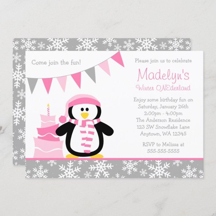 Pink 1st Birthday Blue Penguins Girl Chalkboard Onderland Birthday Party Invitations 10 Printed Invites Snow Snowflakes Boy