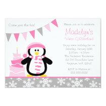Penguin Snowflakes Pink Winter Onederland Birthday Invitation