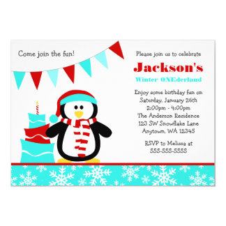 Penguin Snowflakes Teal Winter Onederland Birthday 5x7 Paper Invitation Card