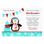 Penguin Snowflakes Teal Winter Onederland Birthday Custom Announcement