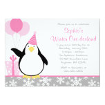 Penguin Snowflakes Winter Onederland Birthday 5x7 Paper Invitation Card