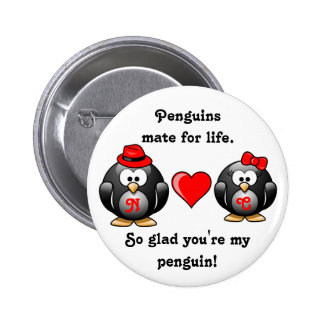 Penguin So Glad You're My Mate for Life Red Heart Pins