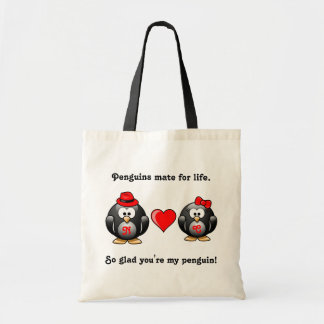 Penguin So Glad You're My Mate for Life Red Heart Tote Bag