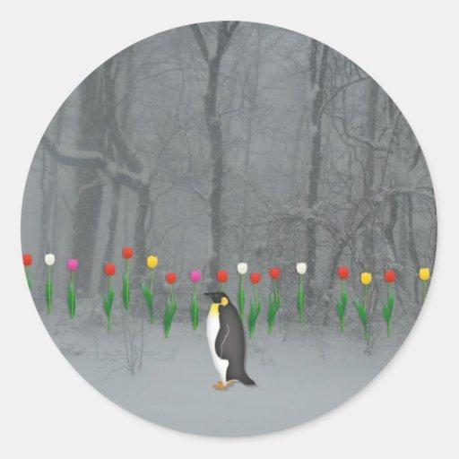 Penguin Spring Walk Round Sticker