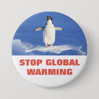 Penguin Stop Global Warming Round Button
