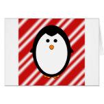 Penguin stripes greeting card