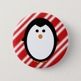 Penguin stripes pinback button