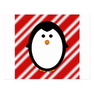 Penguin stripes postcard