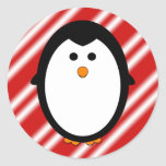 Penguin stripes round stickers